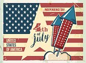 4th of July poster. Grunge retro metal sign with fireworks.