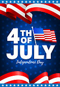 4th of July poster template.USA independence day celebration with American flag.USA 4 th of July promotion advertising banner template for Brochures,Poster or Banner.Vector illustration EPS 10