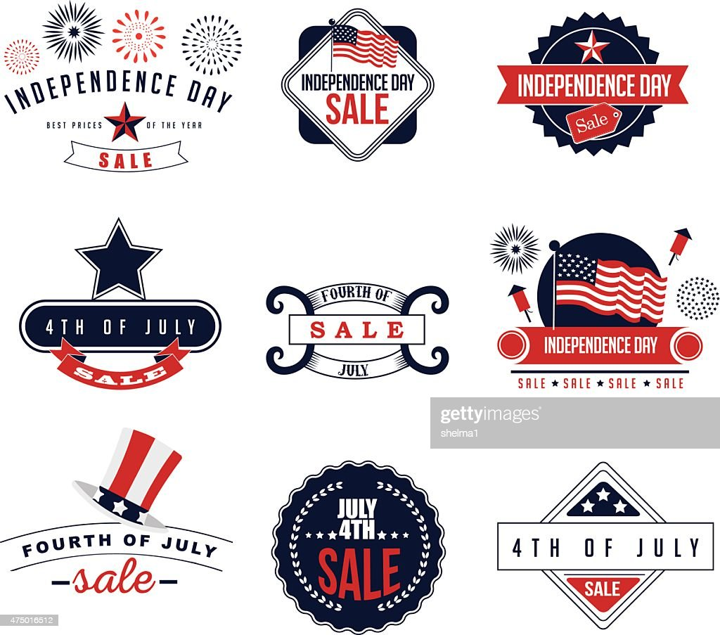 4th of July Sale icons EPS 10 vector