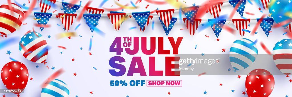 4th of July Sale poster template.USA independence day celebration with American balloons flag.USA 4th of July sale promotion advertising banner template for Brochures,Poster or Banner