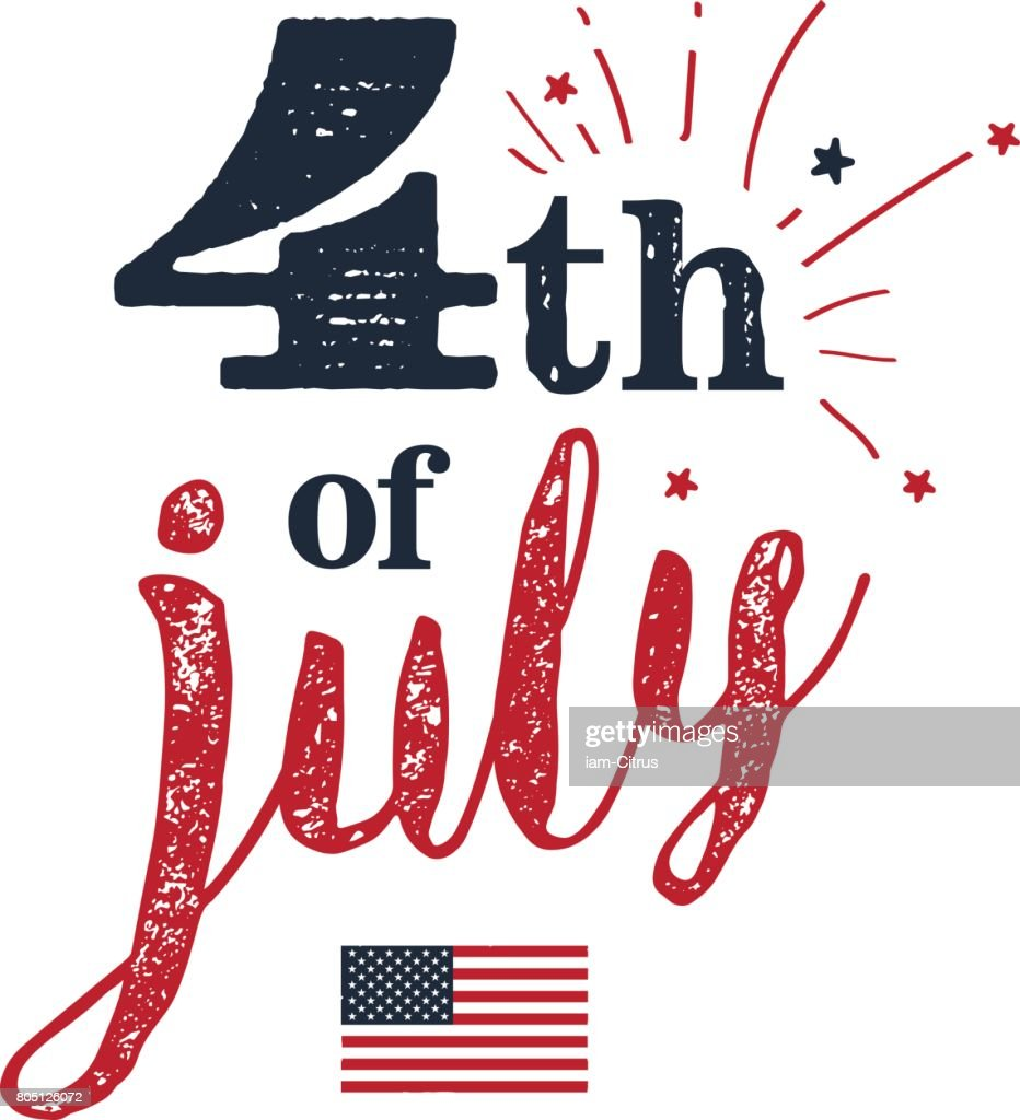 4th of July. USA Independence Day. 4th of July typography