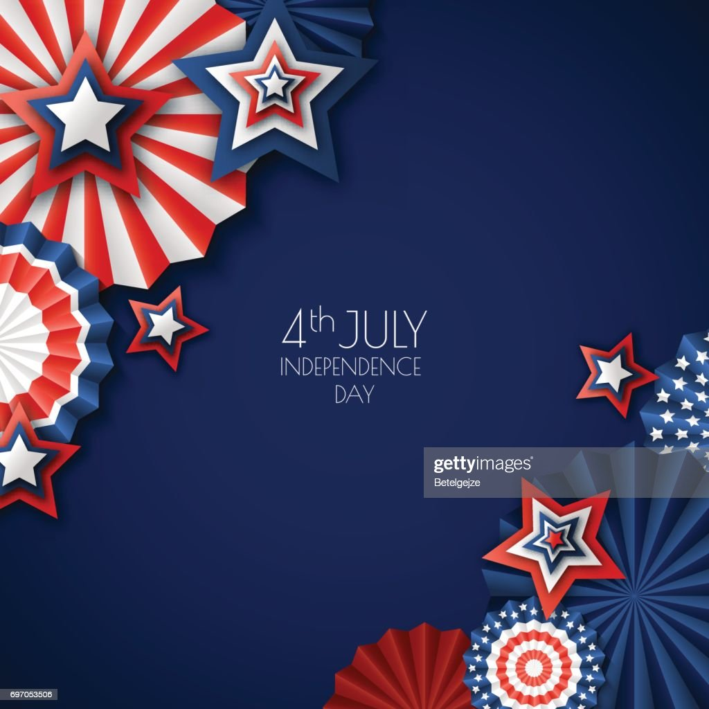 4th of July, USA Independence Day. Vector paper stars in USA flag colors. Blue background with place for text.