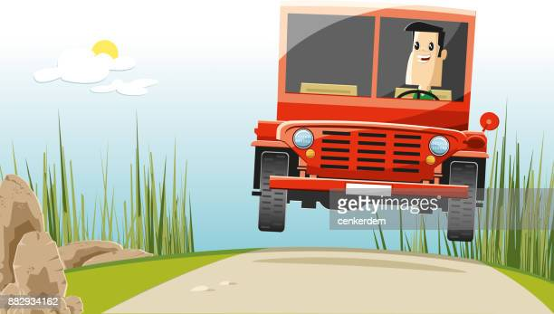 4x4 on the way - rally car racing stock illustrations, clip art, cartoons, & icons