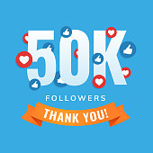 50k followers, social sites post, greeting card