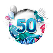 50th anniversary background with balloon and confetti on white. 3D paper style illustration. Poster or brochure template. Vector illustration.