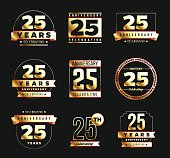 50th anniversary gold logotype set. Jubilee banner.