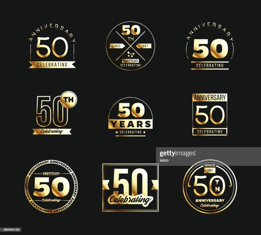 50th anniversary gold symbol type set. Jubilee banner.