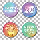 50th anniversary icons set. Happy birthday labels