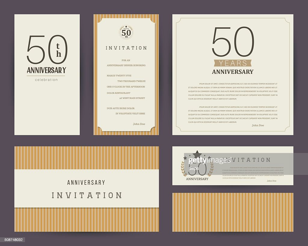 50th anniversary invitation cards template with logo's. Vintage vector illustration.
