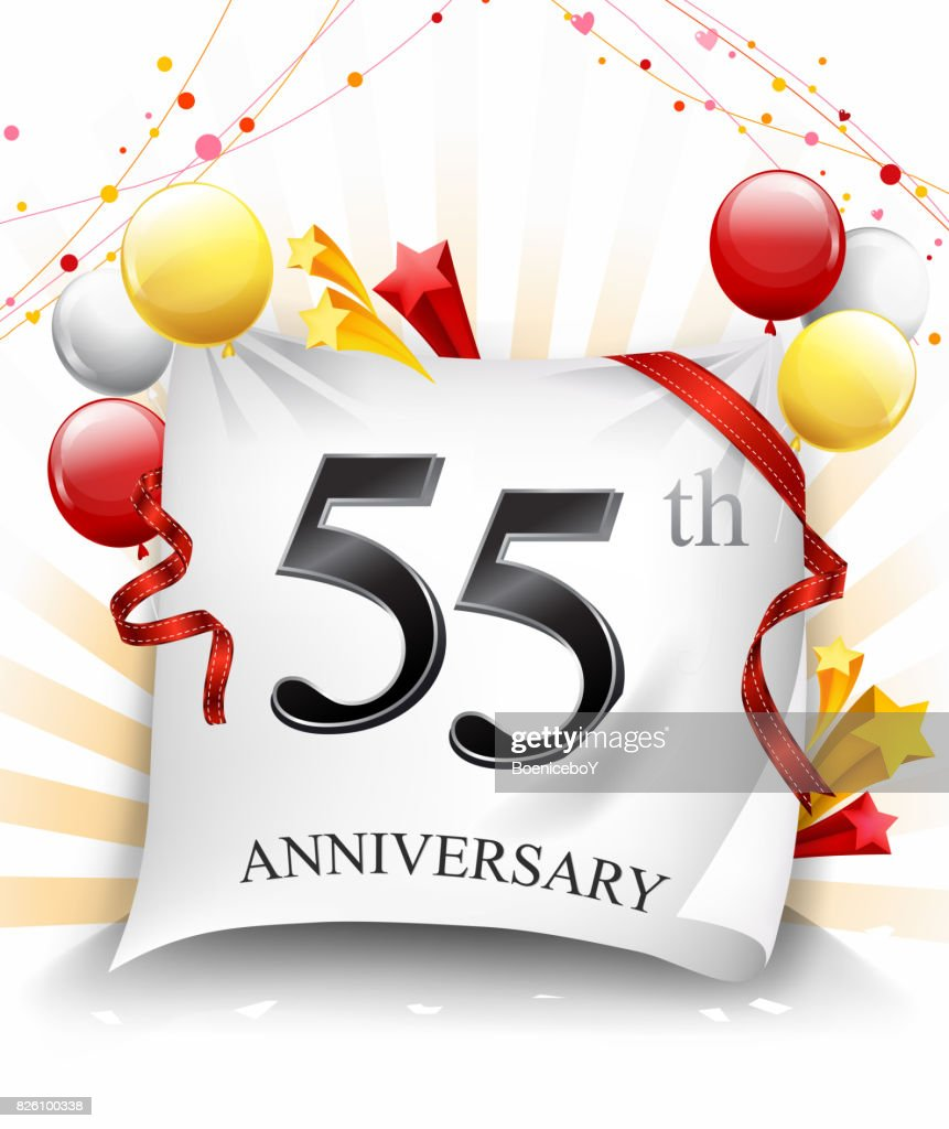 55th anniversary celebration with colorful confetti and balloon on cloth background with shiny elements vector