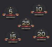 5th, 10th, 15th, 20th, 25th anniversary logo, logotype.
