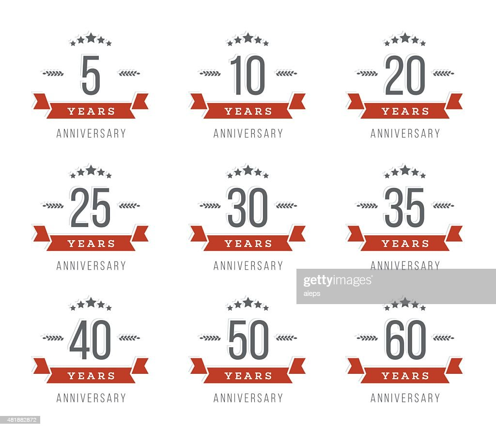 5th, 10th, 20th, 30th, 40th, 50th, 60th jubilee logotype.