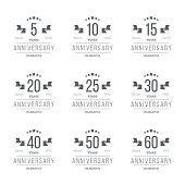 5th, 10th, 20th, 30th, 40th, 50th, 60th jubilee logotype.