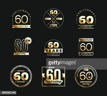 60th Anniversary Gold Symbol Type Set Jubilee Banner Vector Art