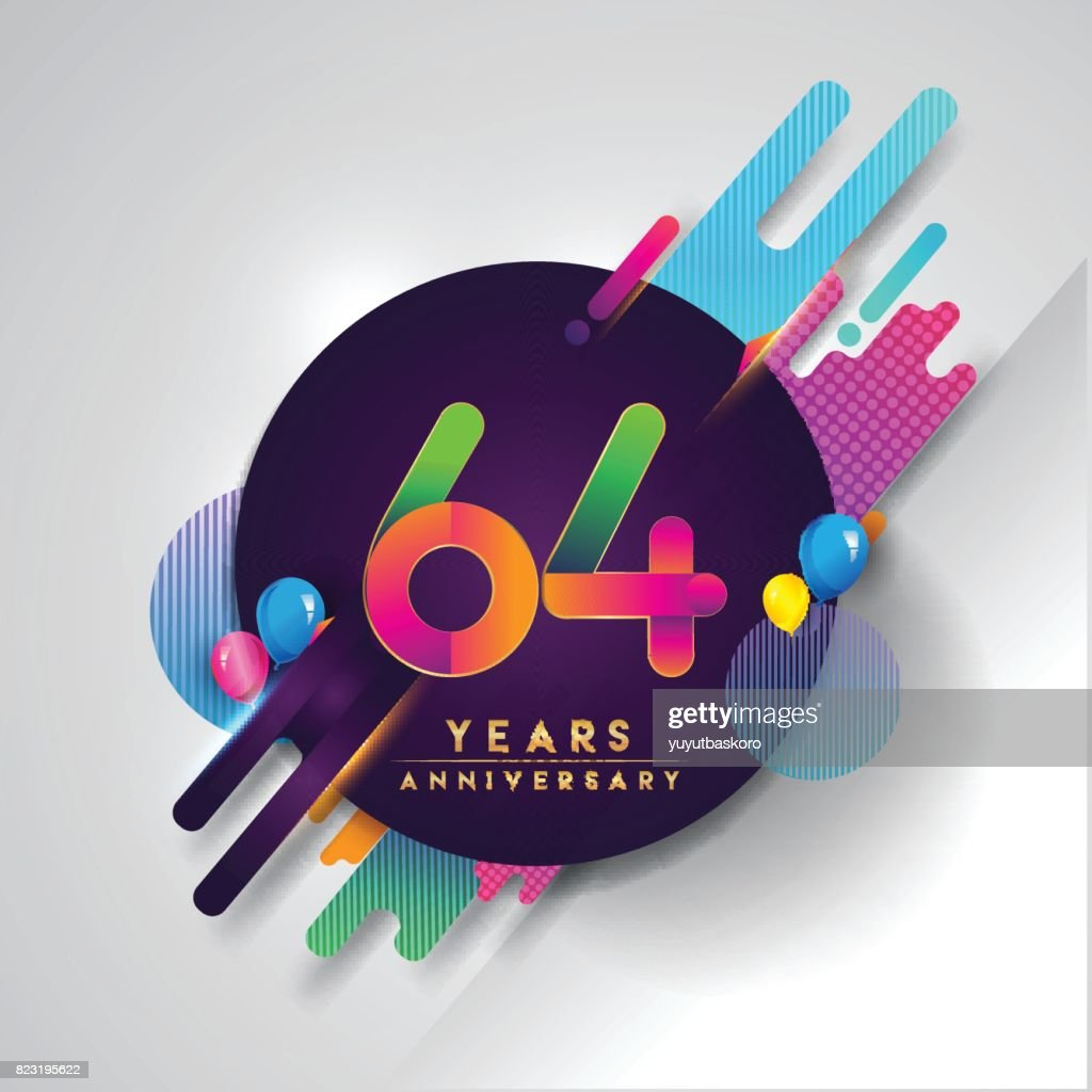 64th years anniversary symbol with colorful abstract background