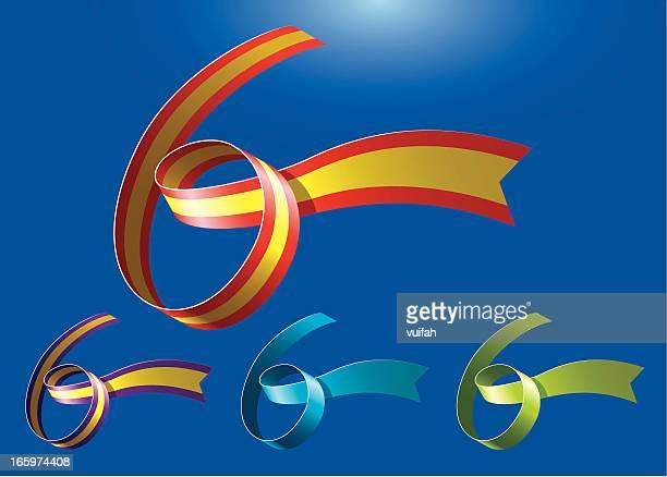 ilustrações, clipart, desenhos animados e ícones de 6 º aniversário ribbonart - número 6