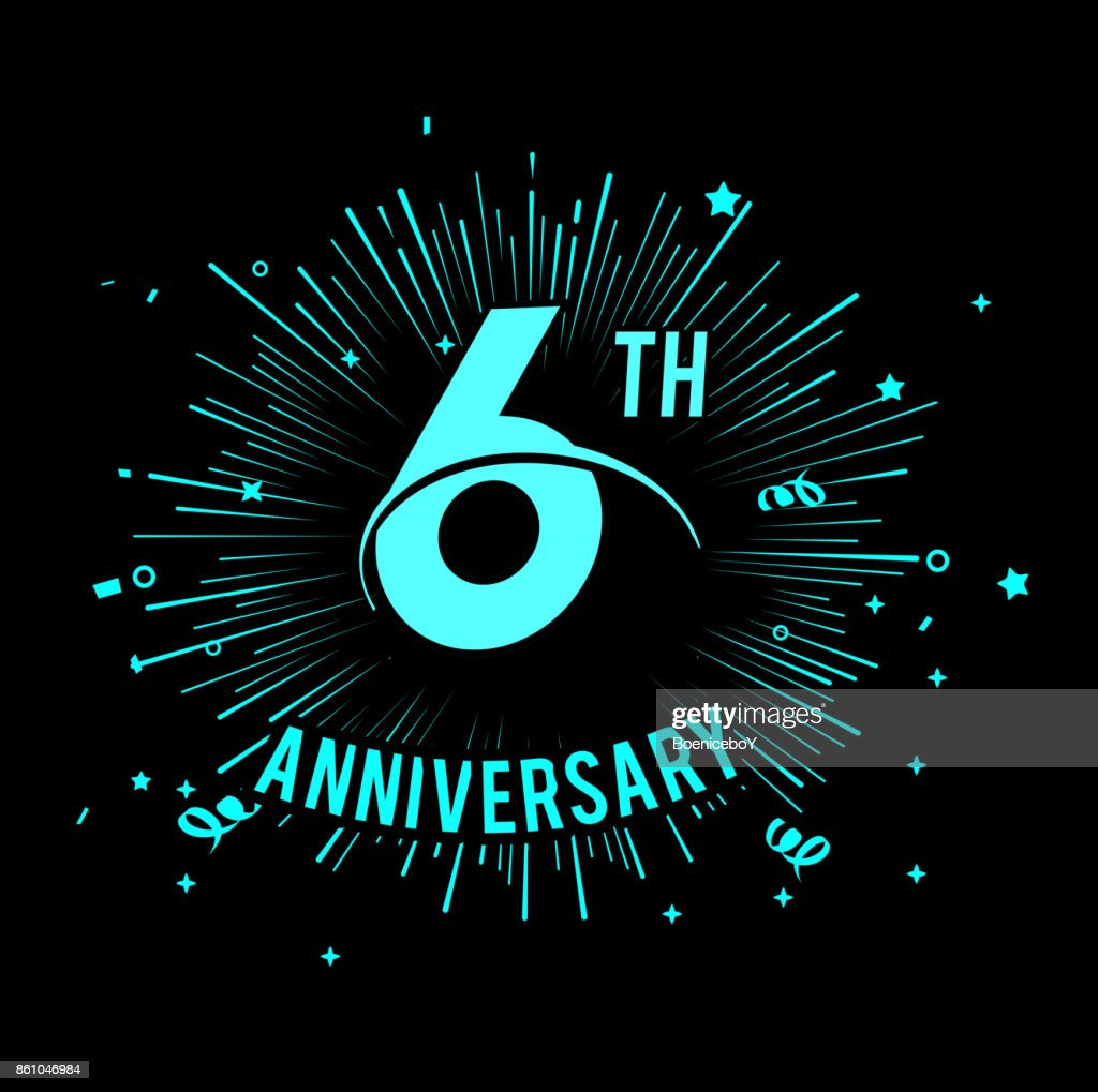 6th anniversary  with firework background. glow in the dark design concept
