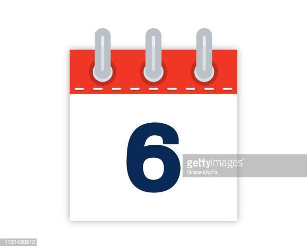 6. Kalenderdatum Der Monat-Vektor