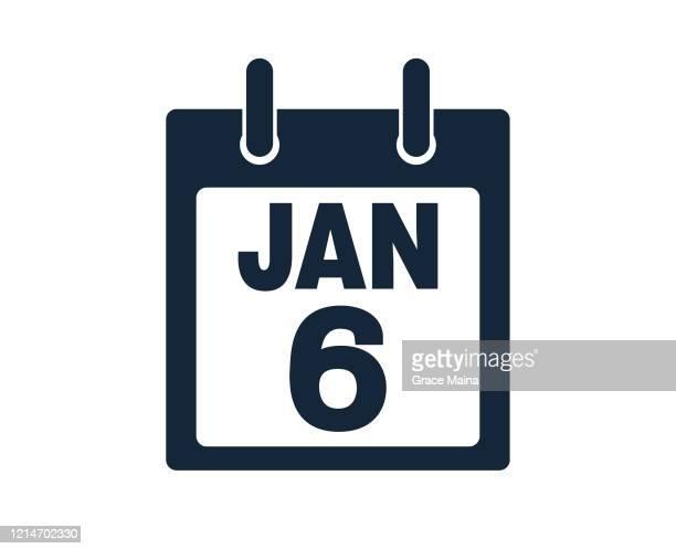 stockillustraties, clipart, cartoons en iconen met illustratie 6 januari kalenderpictogram stock vector - geval