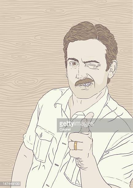 illustrations, cliparts, dessins animés et icônes de 70 s de moustache guy dit a-ok - moustache