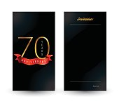 70th anniversary decorated invitation / greeting card template.