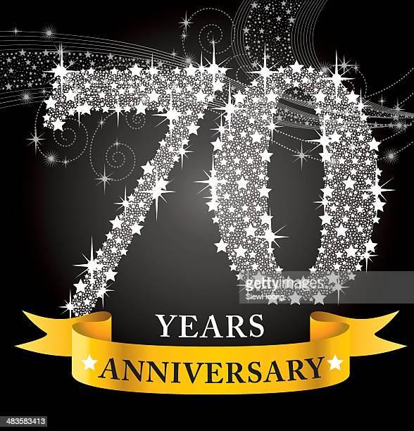 stockillustraties, clipart, cartoons en iconen met 70th anniversary - 70 79 jaar