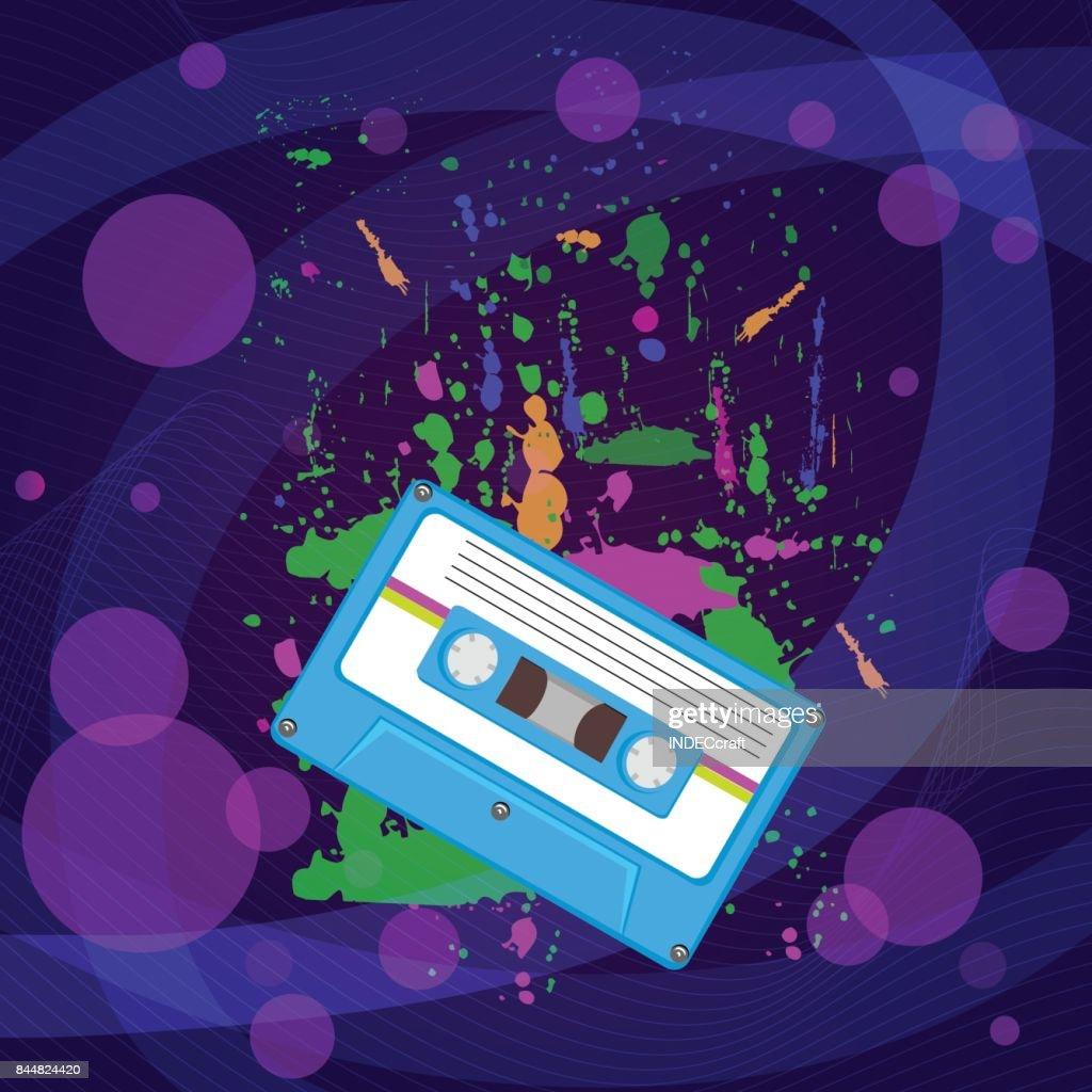 años 80 cassettes con fondo : Ilustración de stock