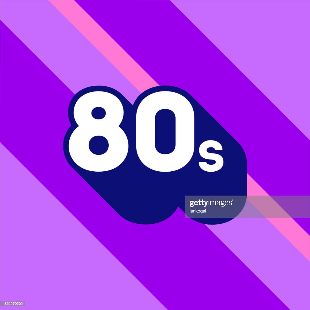 80s icon design. 1980s sign with long shadow.