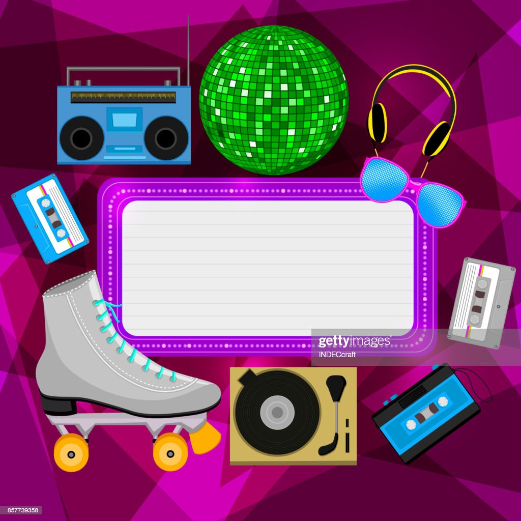 80s Party Icons With Background