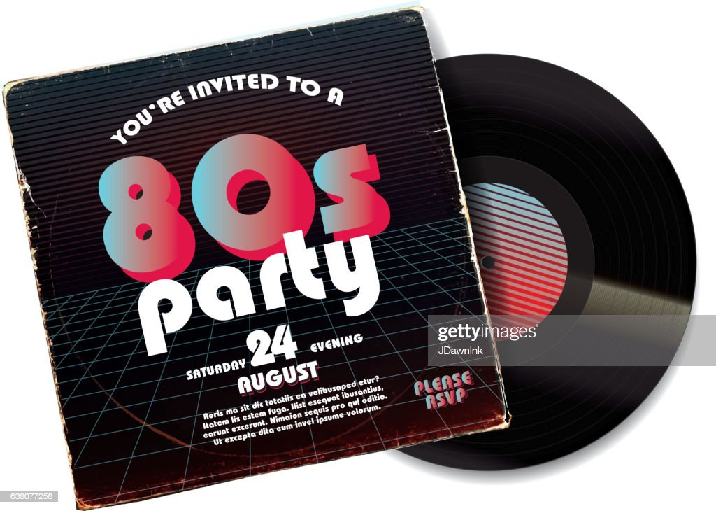 80s Party Invitation Design Template On Worn Record Sleeve Vector ...