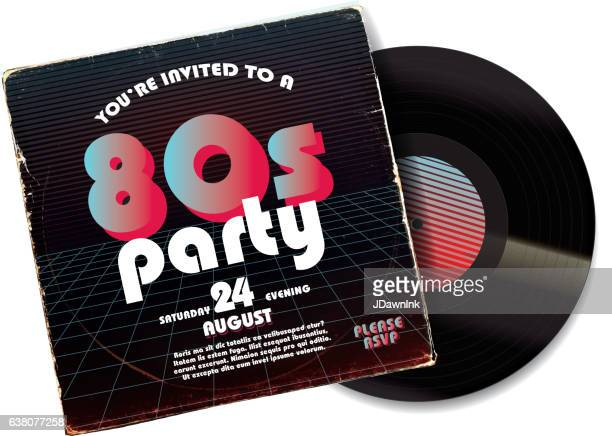80s party invitation design template on worn record sleeve