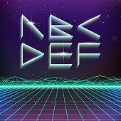 80s Retro Futurism Geometric Font from A to F