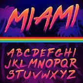 80s Retro Futurism style Font. Vector Brush Stroke Alphabet