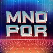 80s Retro Futuristic Font from M to R