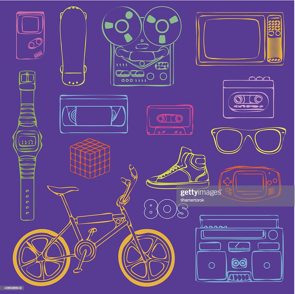 80s Retro objects outline