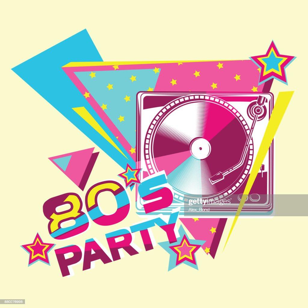 80s retro party poster design