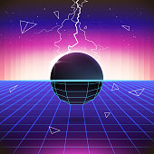 80s Retro Sci-Fi Background with 3D Objects