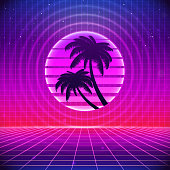 80s Retro Sci-Fi Background with Palms. Vector futuristic synth retro wave illustration in 1980s posters style. Suitable for any print design in 80s style