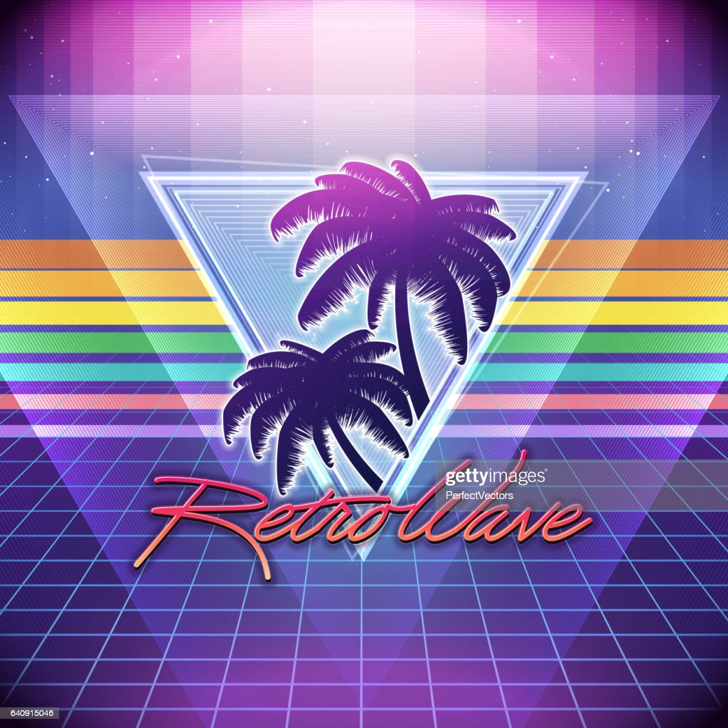 80s Retro Sci-Fi Background with Palms