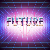 80s Retro Sci-Fi Background with Placeholder