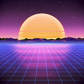 80s Retro Sci-Fi Background with Sunset