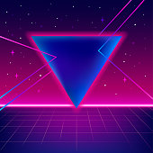80s sci-fi background with perspective grid