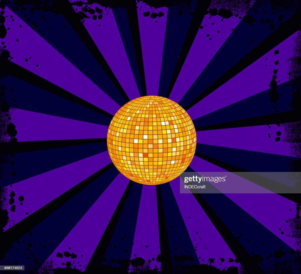 80s Style Disco Ball With Background stock illustration