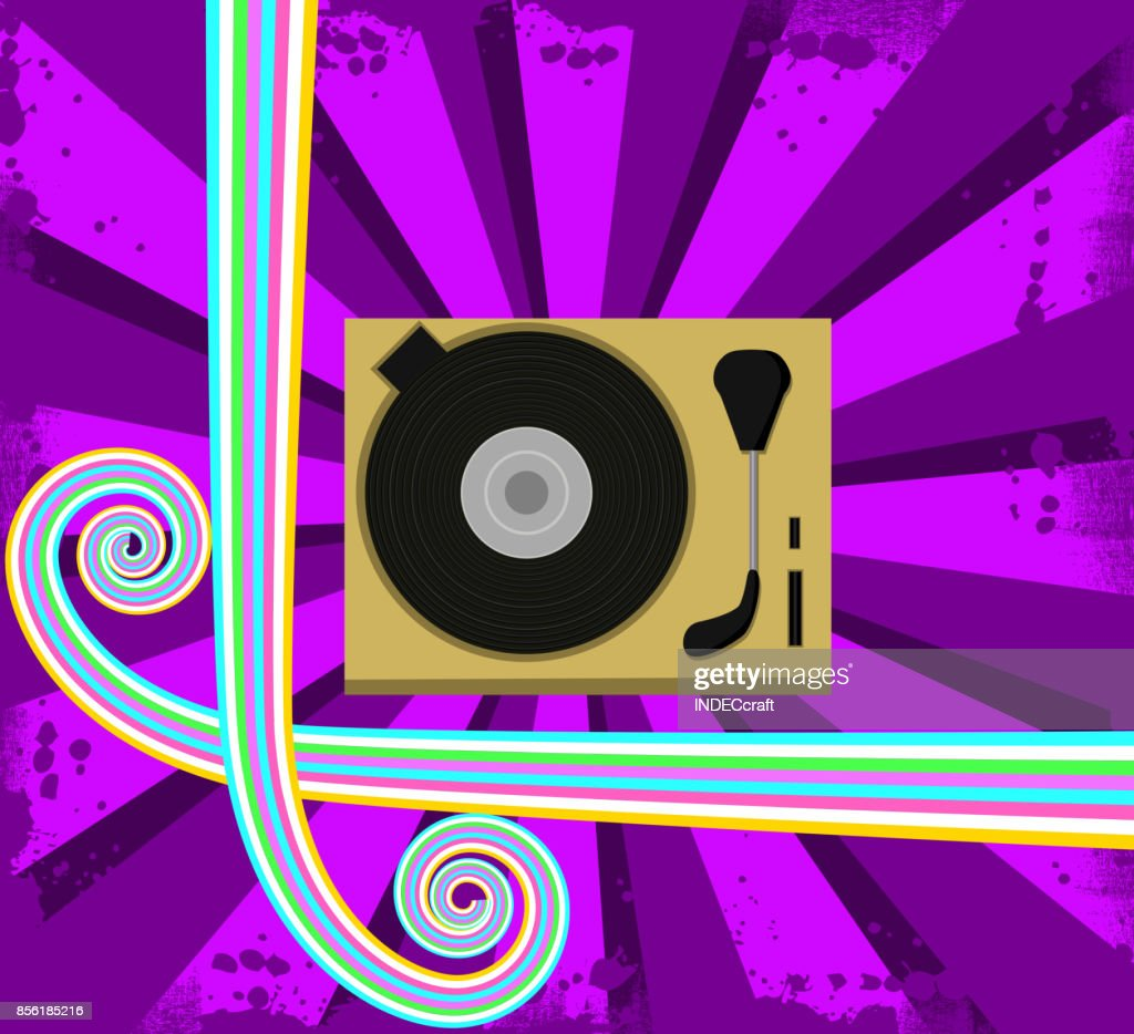 80s Style Gramophone With Retro Background stock