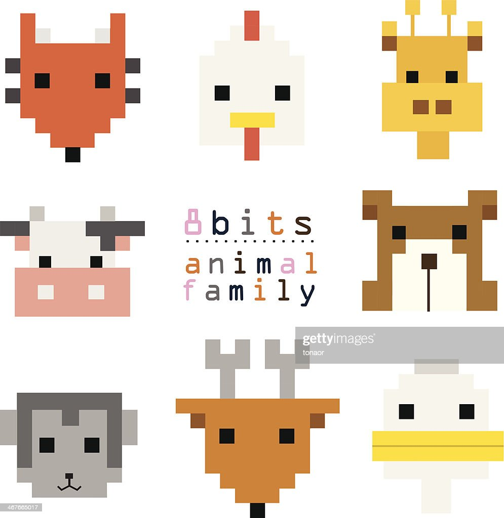8bits animal family vertor set