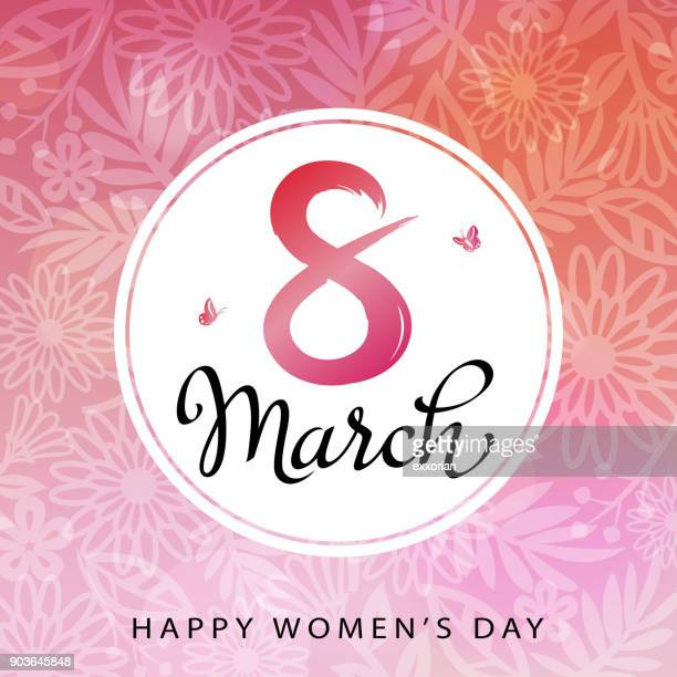 8th march women's day - number 8 stock illustrations