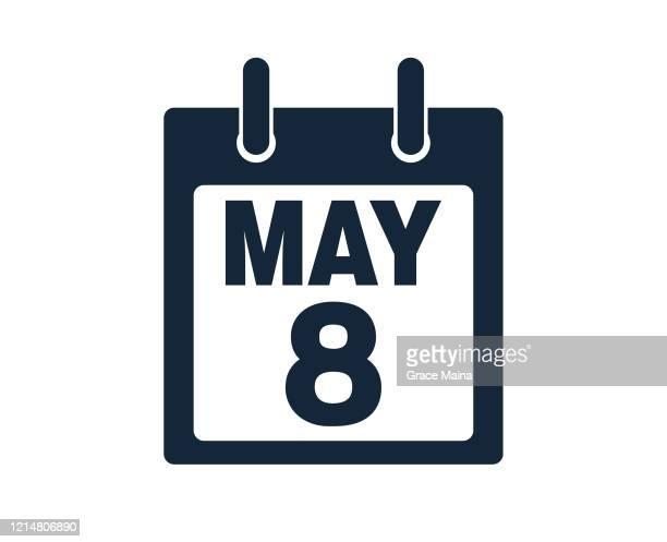 8th may calendar icon stock vector illustration - may stock illustrations
