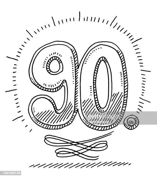 90 周年記念図面番号 - 数字の90点のイラスト素材/クリップアート素材/マンガ素材/アイコン素材