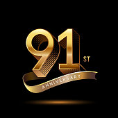 91st Anniversary celebration logotype colored with shiny gold, using ribbon and isolated on black background