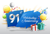 91st anniversary celebration with colorful confetti and balloon on blue background with shiny elements. design template for your birthday party.